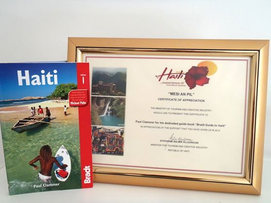 Recognition for the Bradt Guide to Haiti from the Haitian Ministry of Tourism