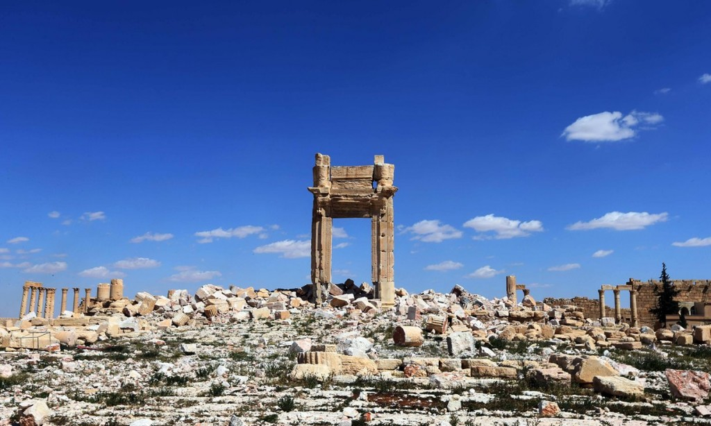 Copies of the Temple of Bel's entrance arch were replicated in London and New York as a symbol of defiance. Photograph: Joseph Eid/AFP/Getty Images